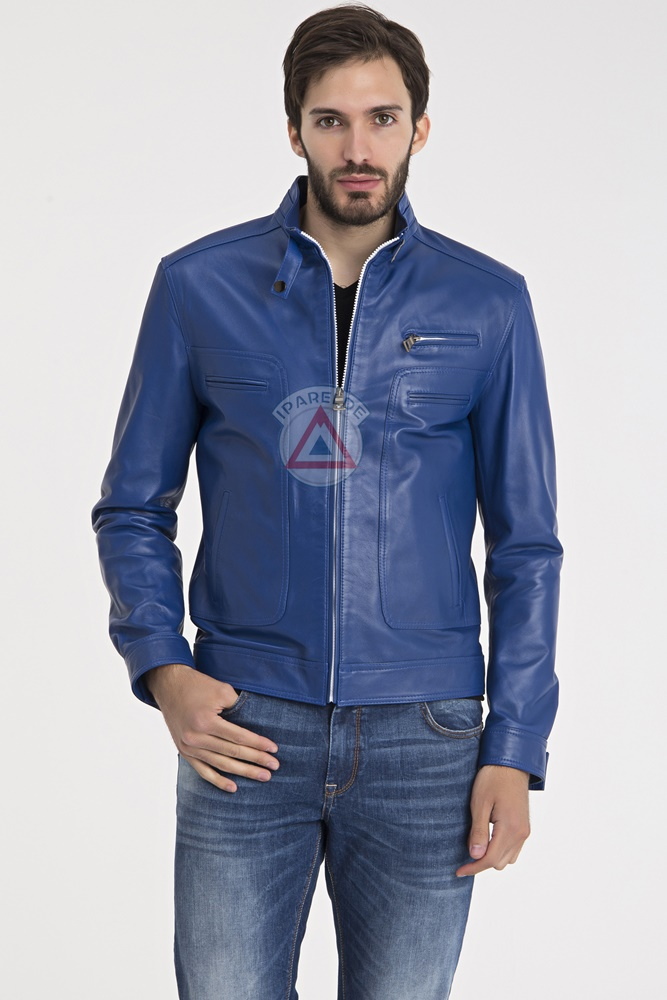 mens blue leather jacket jackets review