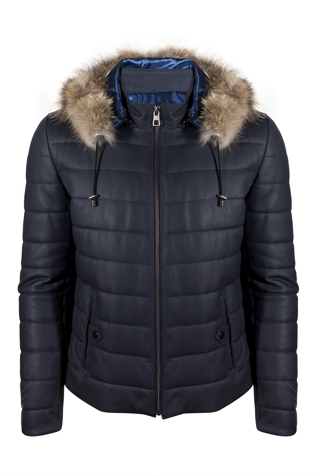 IPAM8488K Navy Blue Fur Leather Jacket
