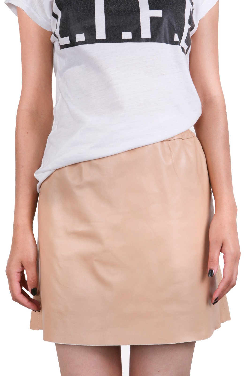 IPAW1001 Beige Leather Skirt