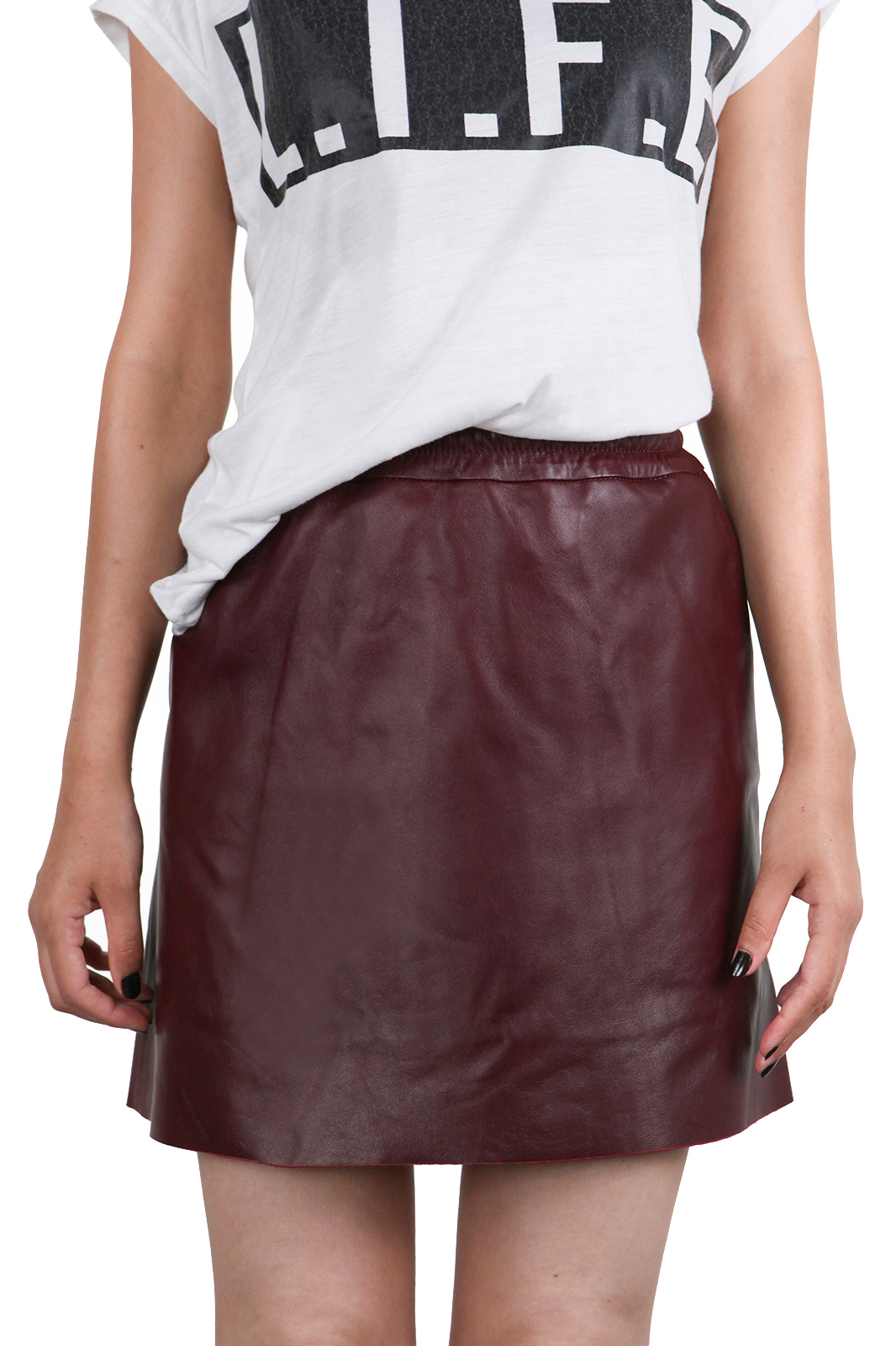 IPAW1001 Bordeaux Leather Skirt