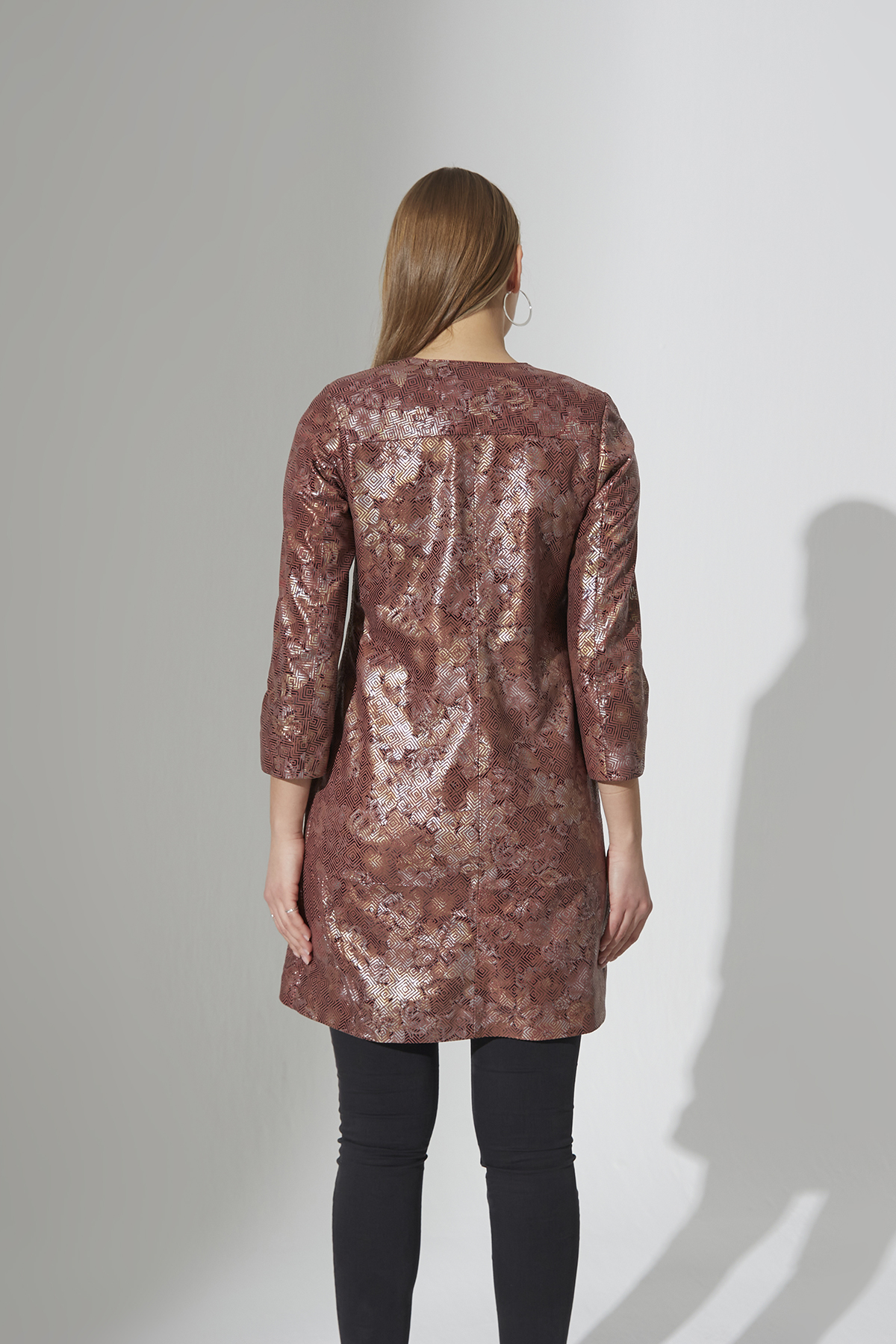 IPAW5197 Flower Printed Leather Jacket