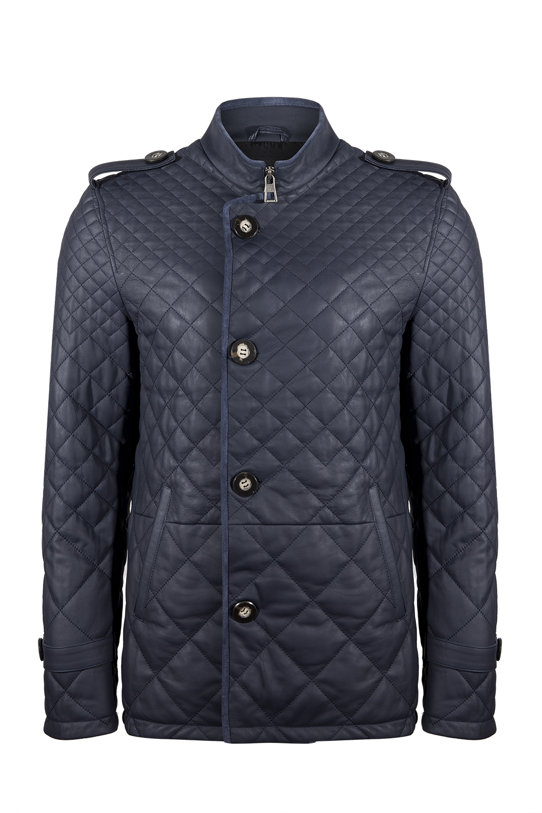 IPAM10102 Navy Blue Leather Jacket