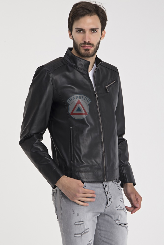 IPAM88 Black Leather Jacket