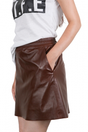 IPAW1001 Chestnut Leather Skirt