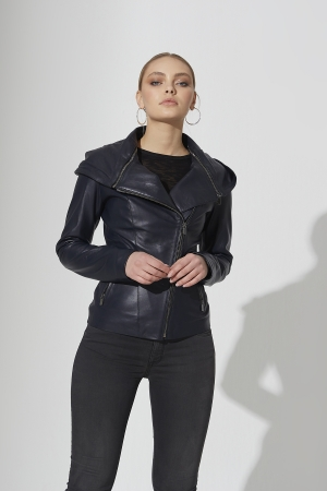 IPAW313 Navy Blue Leather Jacket